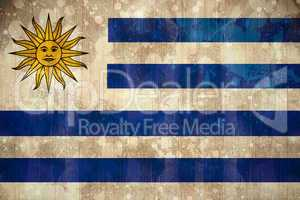 Uruguay flag in grunge effect