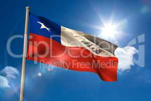 Chile national flag on flagpole