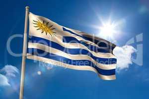 Uruguay national flag on flagpole