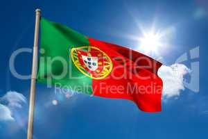 Portugal national flag on flagpole