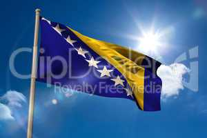 Bosnian national flag on flagpole