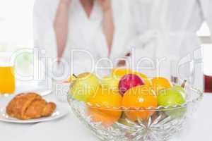 Fruit bowl on the breakfast table