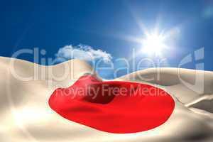 Japan national flag under sunny sky