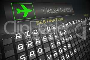 Departures board for south america