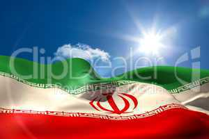 Iran national flag under sunny sky