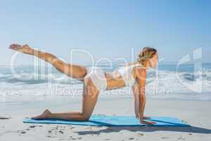 Gorgeous fit blonde in pilates pose on the beach