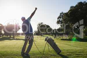 Golfer happy with his shot