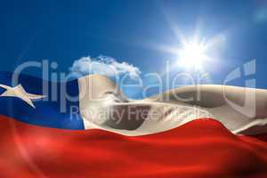 Chile national flag under sunny sky