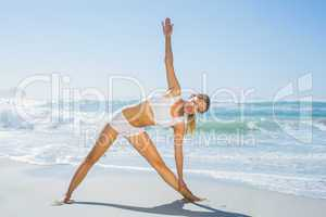 Gorgeous blonde standing in extended triangle pose by the sea