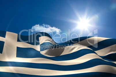 Greek national flag under sunny sky