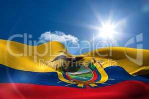 Ecuador national flag under sunny sky