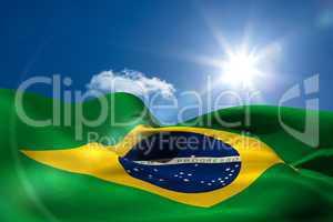 Brazil national flag under sunny sky