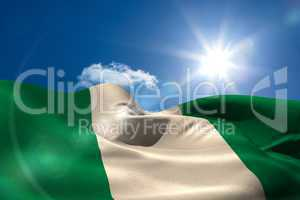 Nigeria national flag under sunny sky