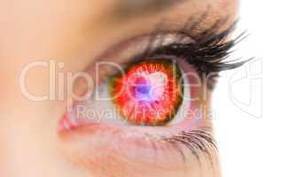 Red glowing eye looking ahead