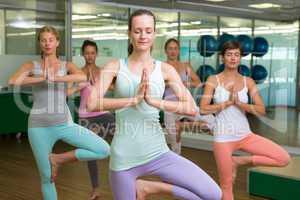 Smiling yoga class in tree pose in fitness studio