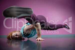 Pretty break dancer busting a move