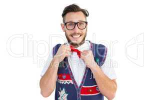 Geeky hipster wearing christmas vest