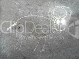 chalk drawing animal