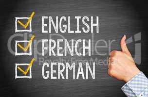 Languages - English French German