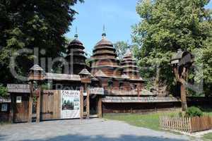 nice wooden church in village of Western Ukraine