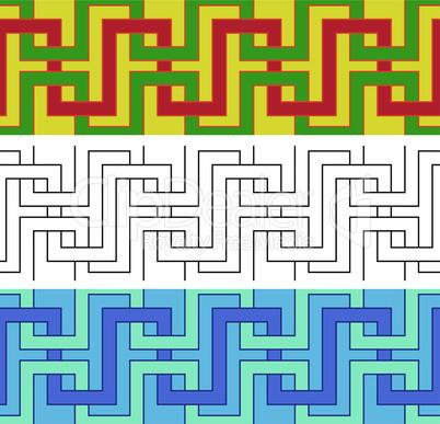 Three ornamental seamless patterns