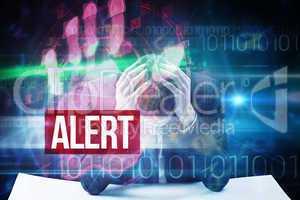 Alert against red technology hand print design