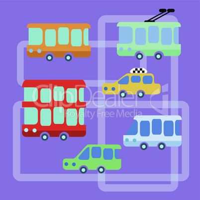 Collection urban public transport bus taxi trolley minibus