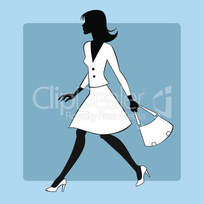 Silhouette icon modern young woman goes