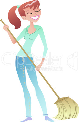 girl with the broom cleaner housewife volunteer