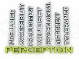 3d image Perception issues concept word cloud background