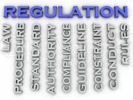 3d image Regulation issues concept word cloud background