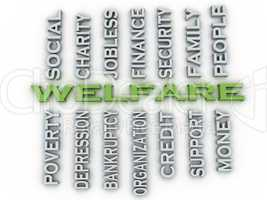 3d image Welfare issues concept word cloud background