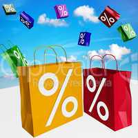 Shopping bags with percent imprint