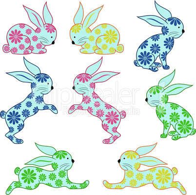 Eight ornamental rabbits