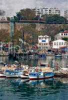 Digital painting of colorful fishing boats in harbor