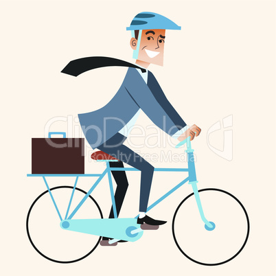 Businessman going to work in the office by bike