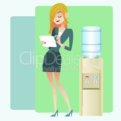 The girl in the office near the water cooler looking at the news and record on computer tablet