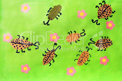 Children's odd with beetles with pink flowers