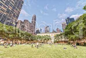 NEW YORK CITY - JUNE 8, 2013: Locals and tourists relax in Bryan