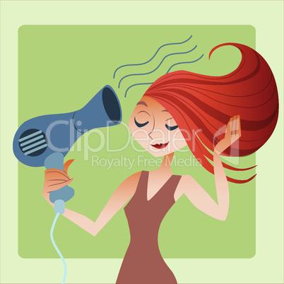 woman dries hair