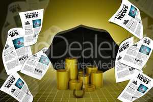 Gold coins under a black umbrella