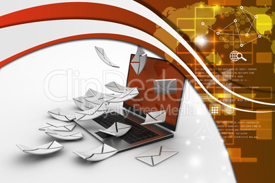 E-mail concept. Modern Laptop and envelope