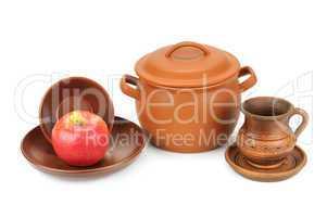 set of earthenware crockery