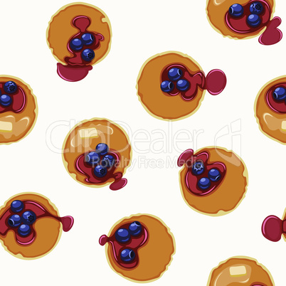 Breakfast With Pancakes and Blueberries Seamless Vector Pattern