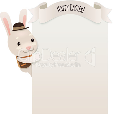 Happy Easter Bunny Looking at Blank Poster