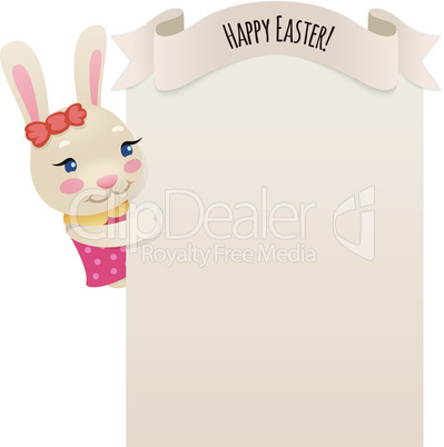 Happy Easter Bunny Girl Looking at Blank Poster