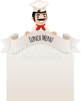 Chef Looking at Blank Menu on Top