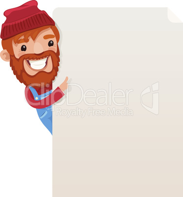 Lumberjack looking at blank poster
