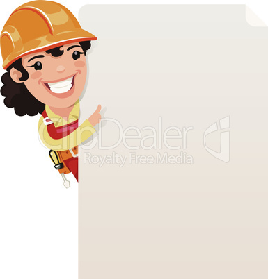 Female Builder Looking at Blank Poster