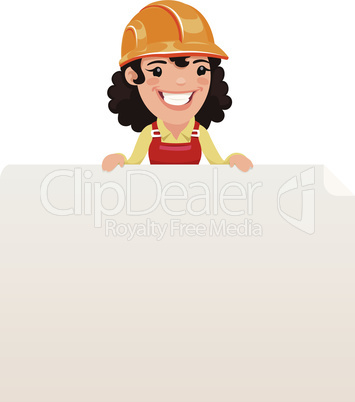 Female Builder Looking at Blank Poster on Top